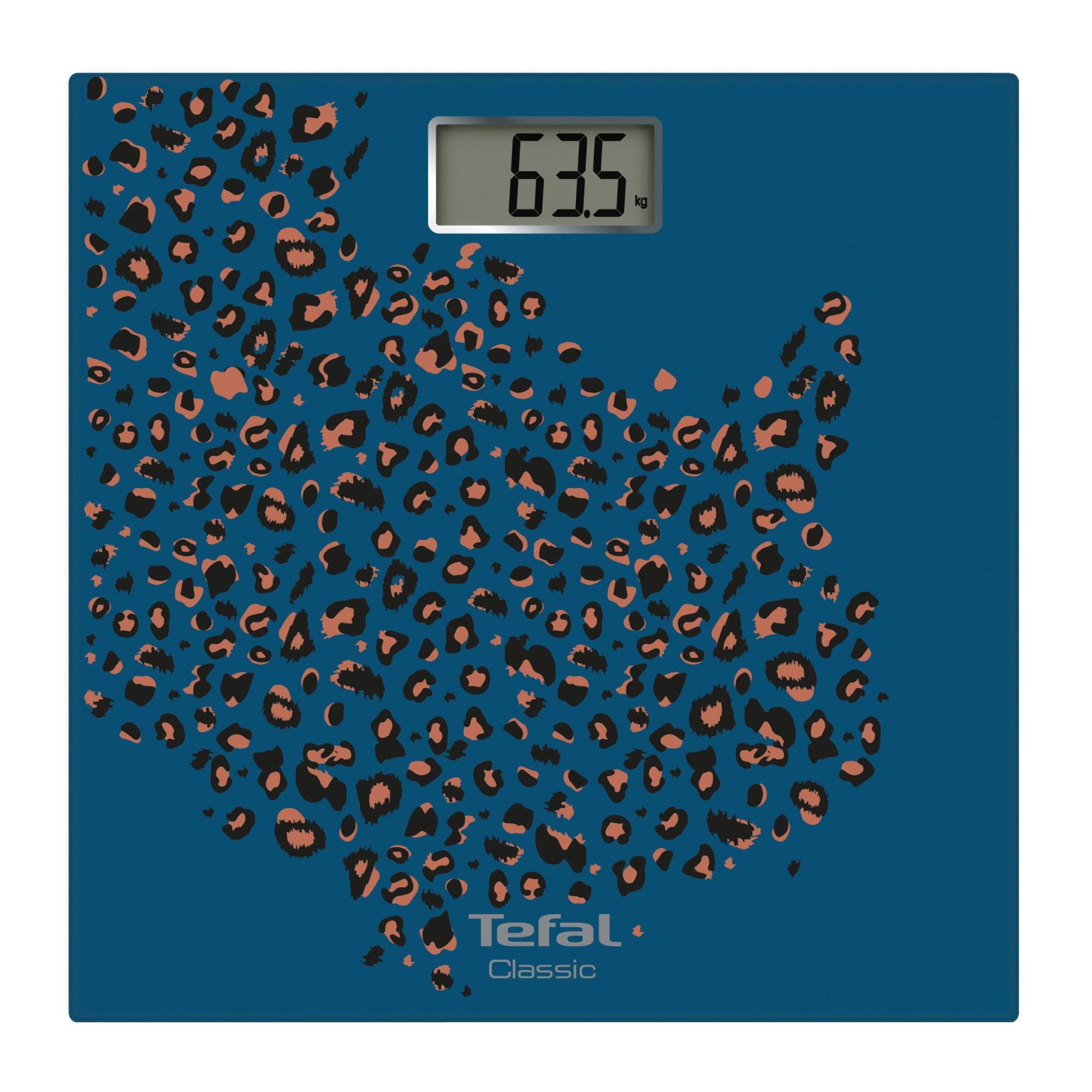 Fotografie Cantar de baie Tefal Classic Mosaic PP1154V0, capacitate 160kg, ecran LCD, platforma sticla, auto ON/OFF, albastru