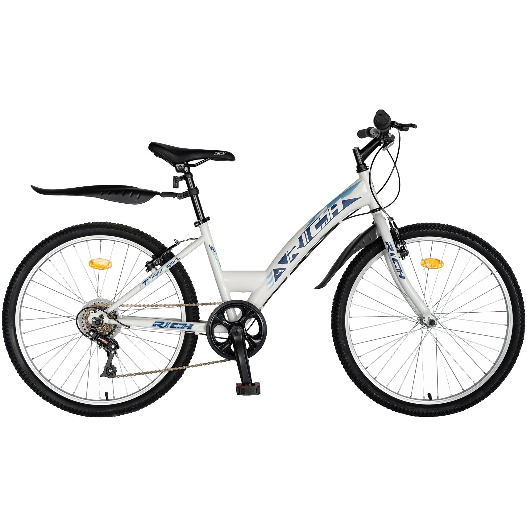 "Fotografie Bicicleta Trekking 24"" Rich R2430A, 6 viteze, culoare alb/albastru"