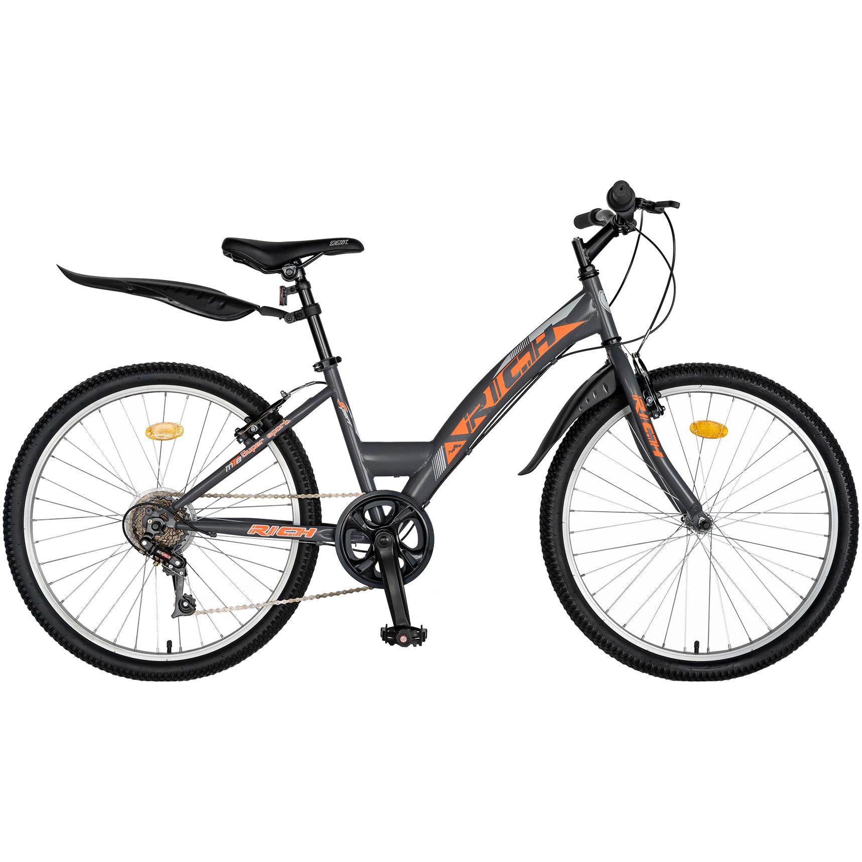 """Fotografie Bicicleta Trekking 24"""" Rich R2430A, 6 viteze, Gri/Portocaliu"""