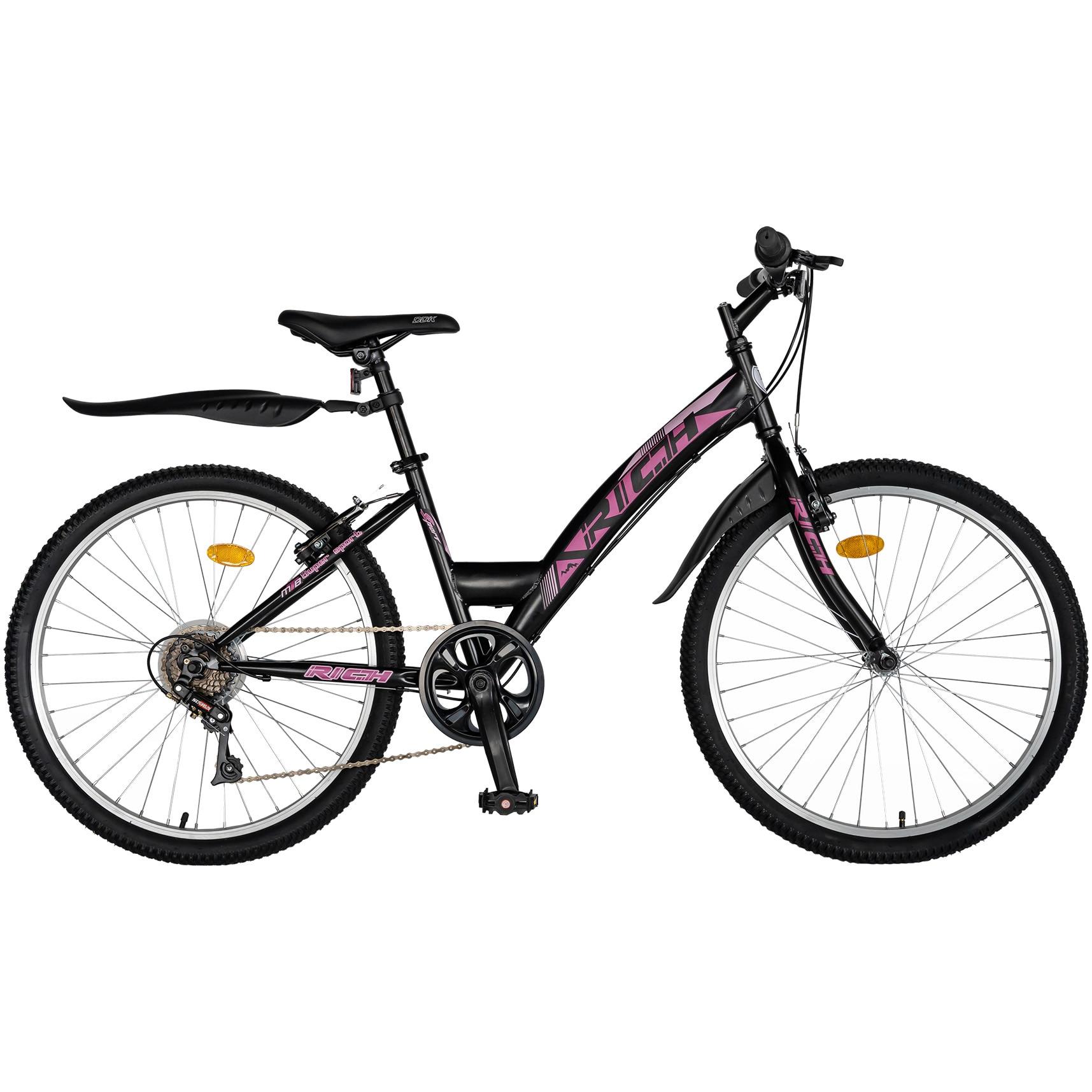 """Fotografie Bicicleta Trekking 24"""" Rich R2430A, 6 viteze, culoare negru/fucsia"""