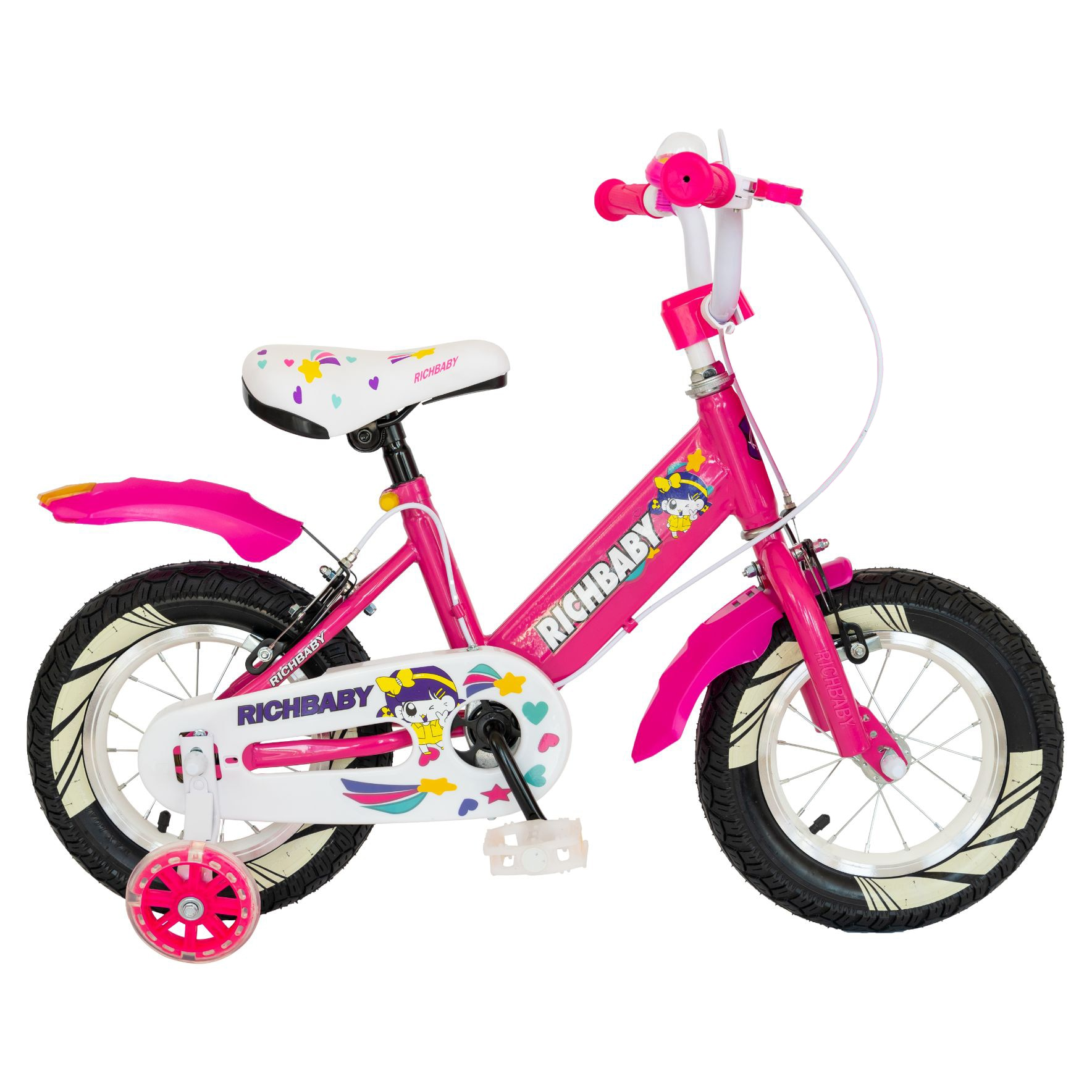 "Fotografie Bicicleta fete Rich Baby R1408A, roata 14"", C-Brake, cosulet, roti ajutatoare cu LED, 3-5 ani, fucsia/alb"