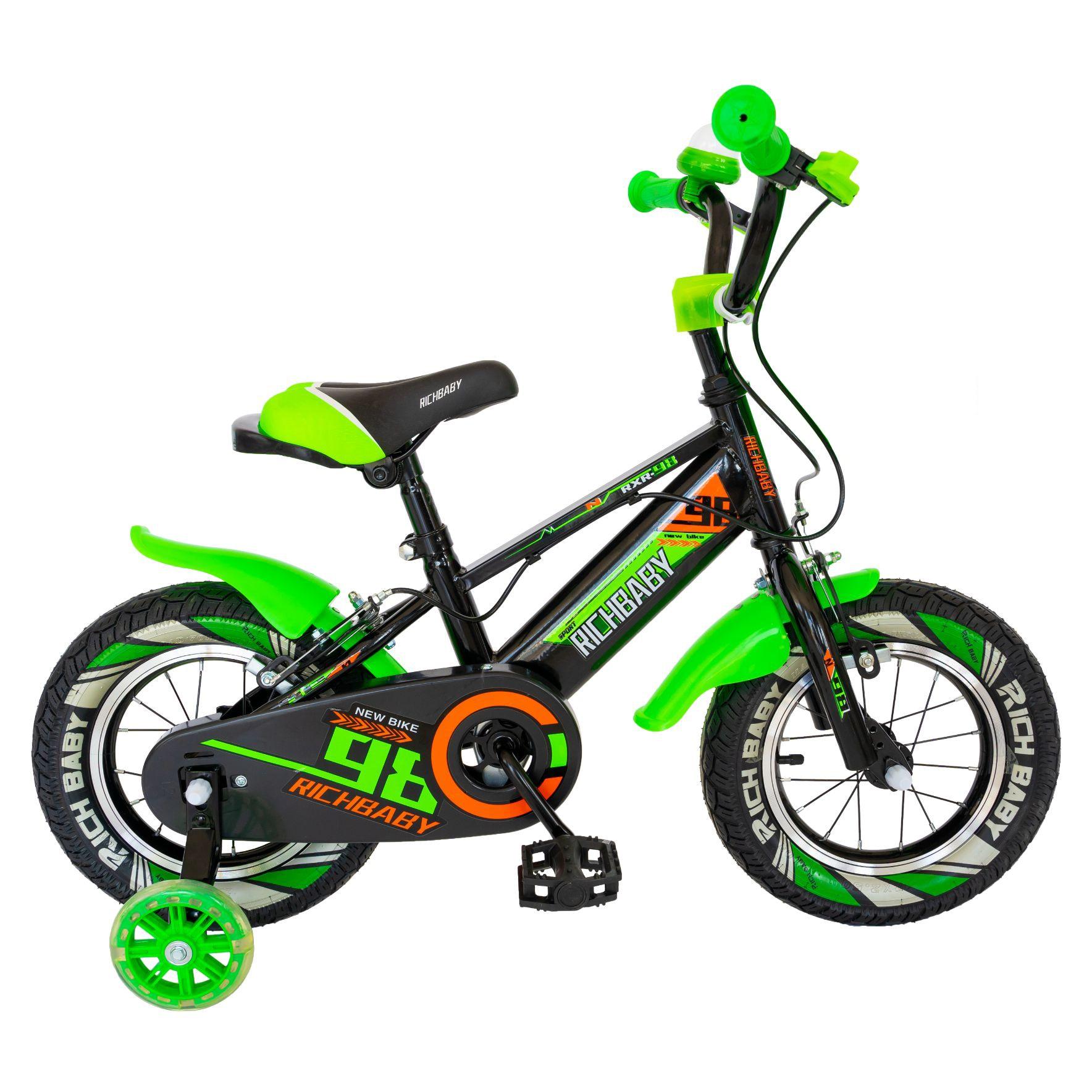"""Fotografie Bicicleta baieti Rich Baby R1407A, roata 14"""", C-Brake, cosulet, roti ajutatoare cu LED, 3-5 ani, negru/verde"""