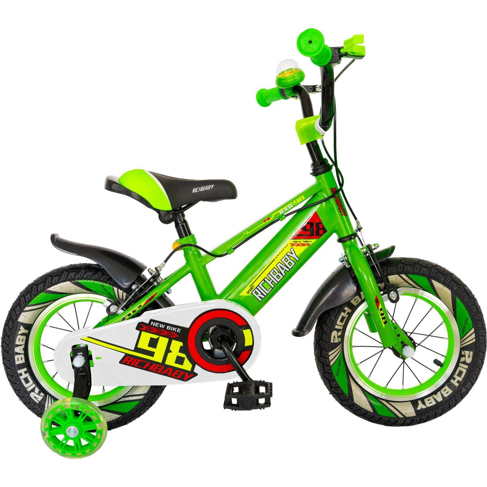 """Fotografie Bicicleta baieti Rich Baby R1407A, roata 14"""", C-Brake, cosulet, roti ajutatoare cu LED, 3-5 ani, verde/negru"""