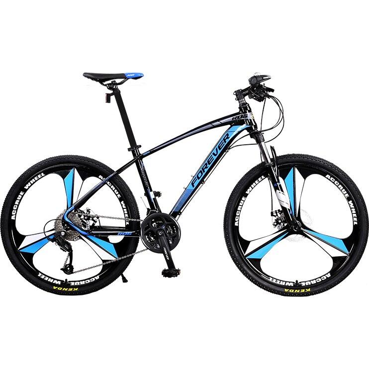 """Fotografie Bicicleta MTB-HT Forever F26R1B, roata 26"""", cadru aluminiu, 27 viteze, culoare negru/albastru"""