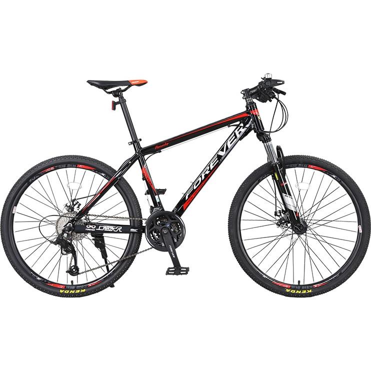 """Fotografie Bicicleta MTB-HT Forever F24T1B, roata 24"""", 27 viteze, culoare negru/rosu"""