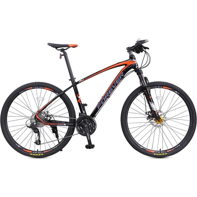 """Fotografie Bicicleta MTB-HT Forever F27A9B, roata 27.5"""", cadru aluminiu, 27 viteze, culoare negru/rosu"""