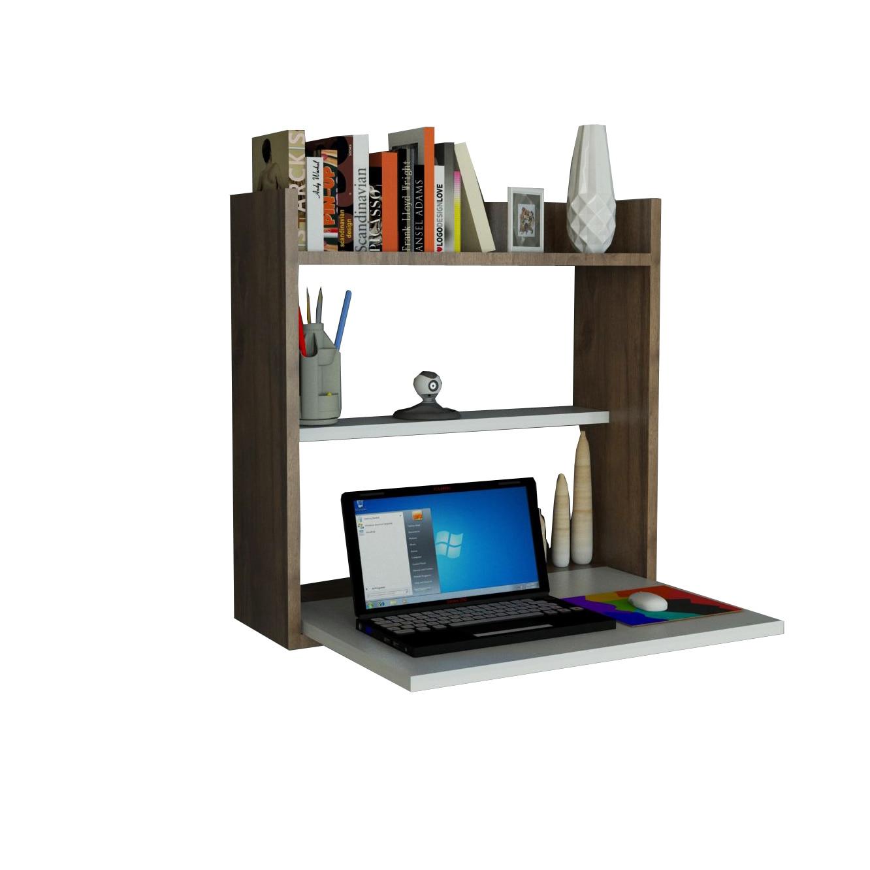 Fotografie Etajera multifunctionala/Birou Woody Fashion Laptop, 60 x 19.6 x 60 cm, Alb/Finisaj Nuc
