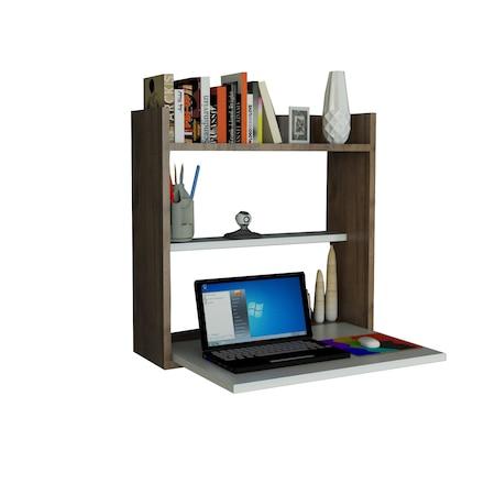 Етажерка Woody Fashion Laptop, Мултифункционална, 60 x 19.6 x 60 см, Бяла/Покритие орех