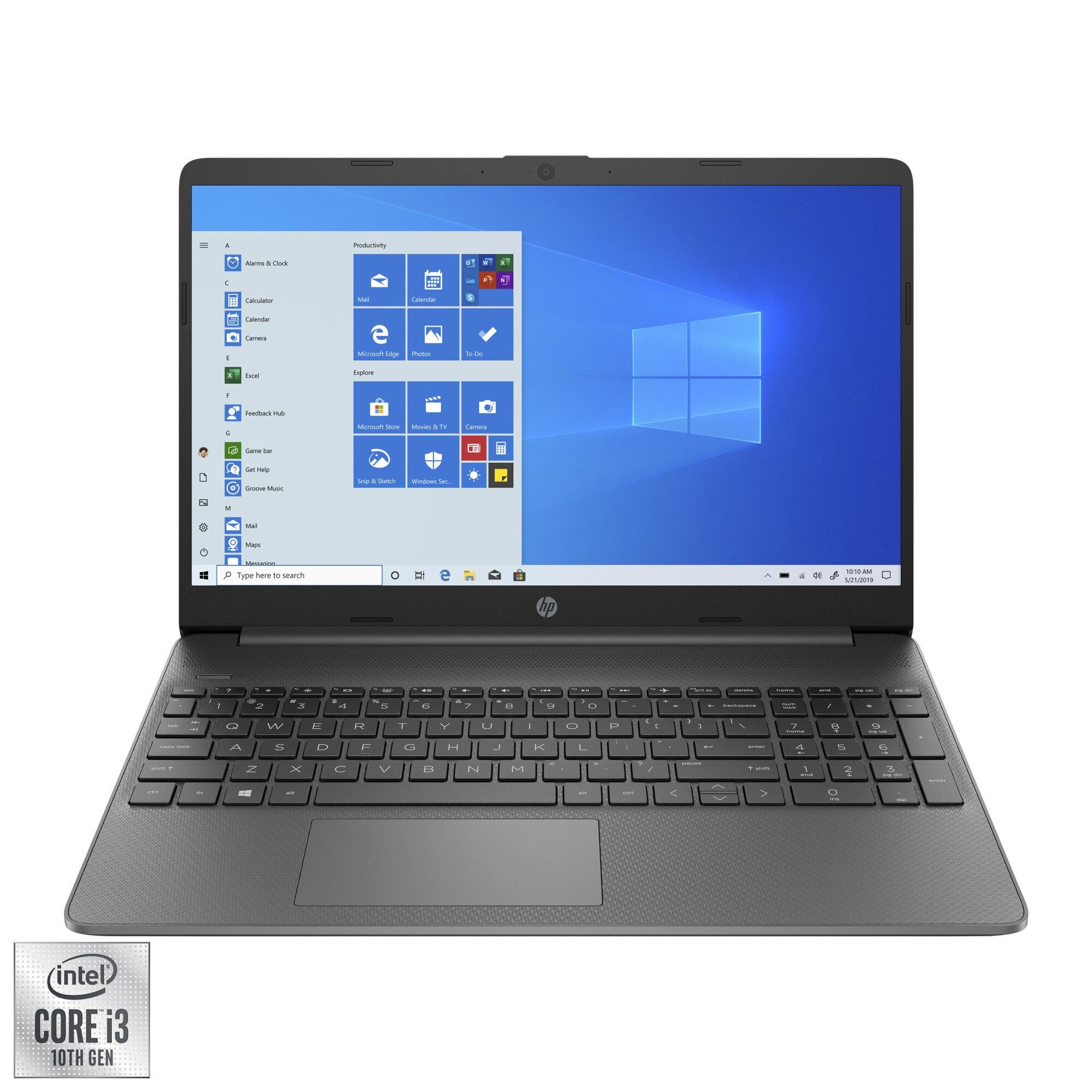 """Fotografie Laptop HP 15s-fq1061nq cu procesor Intel® Core™ i3-1005G1 pana la 3.40 GHz, 15.6"""", HD, 4GB, 256GB SSD,Intel® UHD Graphics, Windows 10 Home S, Chalkboard gray"""