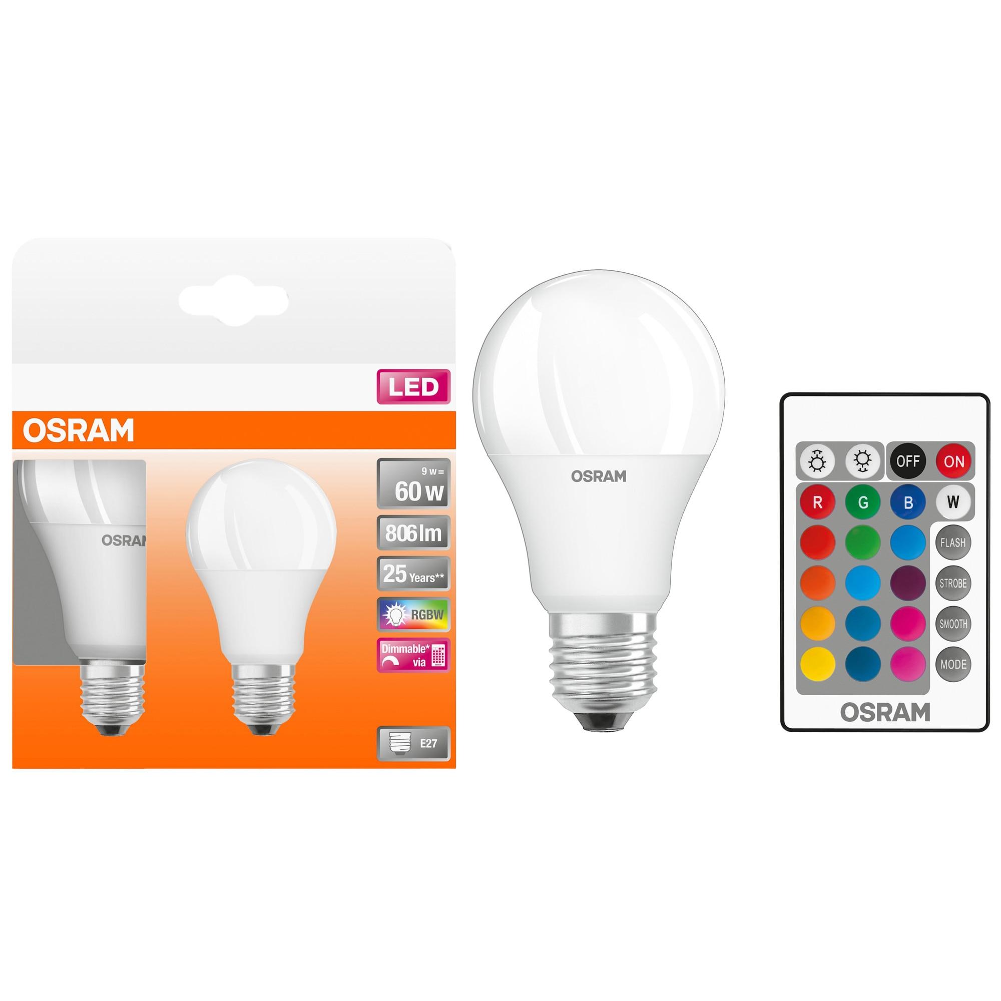 Fotografie Set 2 becuri LED RGB-W Osram Star, E27, 9W (60W), 806 lm, dimabil, telecomanda inclusa, A+, lumina alba si colorata