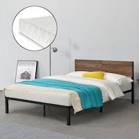 [en.casa]® Fém ágykeret Lausanne ágyráccsal és matraccal acélkeret diófa hatású betétekkel 200cm x 140cm