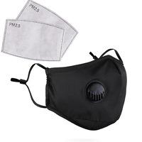 3 rétegű maszk - 2db 5 rétegű N95 aktívszén betéttel, légzéskönnyítő szeleppel, állítható fülrésszel - Fekete