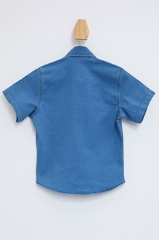 DeFacto, Camasa din denim cu buzunare cu clapa, Albastru inchis