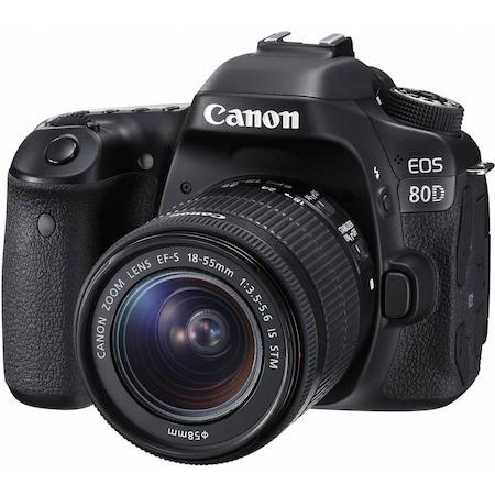 Aparat foto DSLR Canon EOS 80D, 24.2 MP,Wifi, Negru + Obiectiv EF-S 18-55mm IS STM