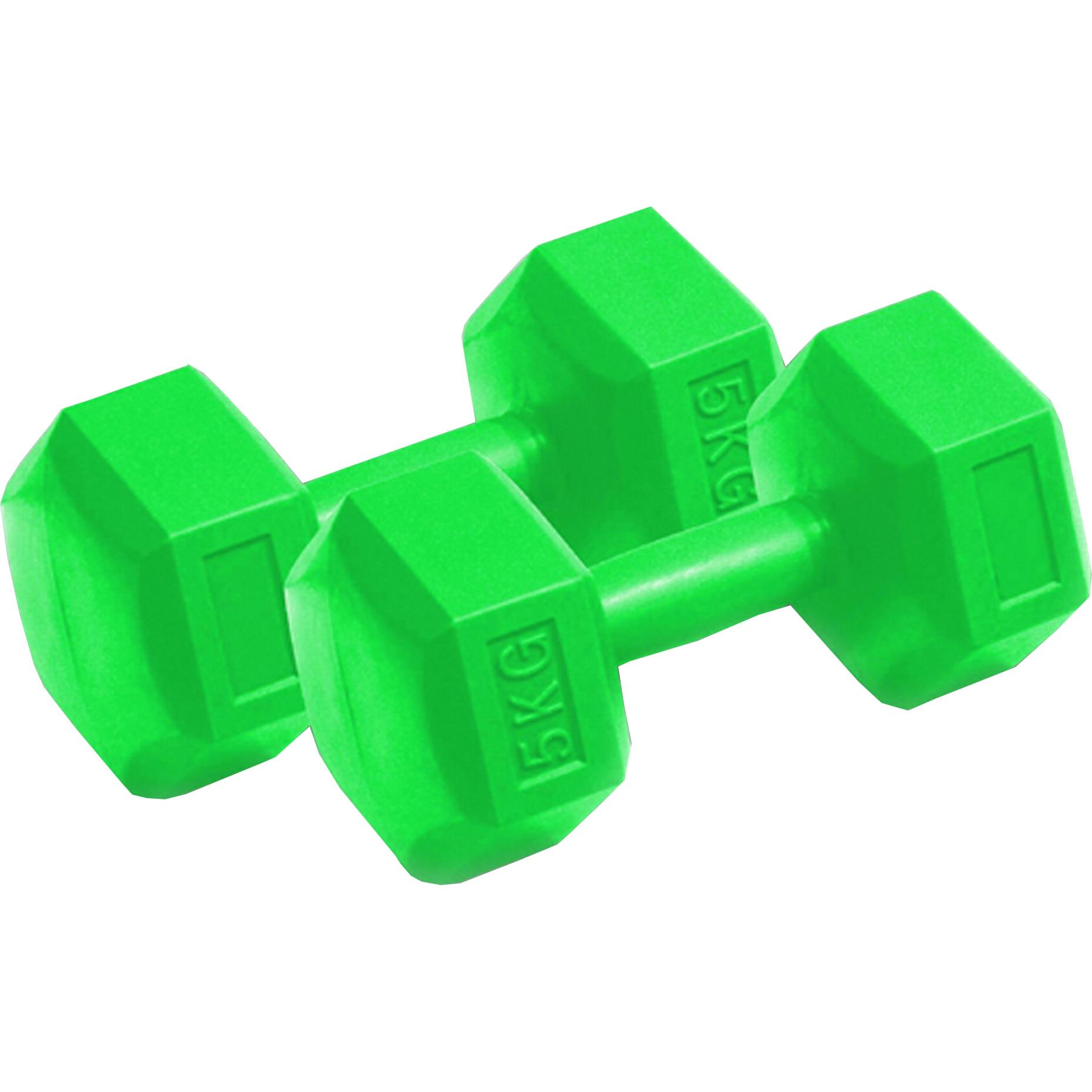 Fotografie Set de 2 gantere fitness Dynamic, coating plastic, 5 kg, culoare verde