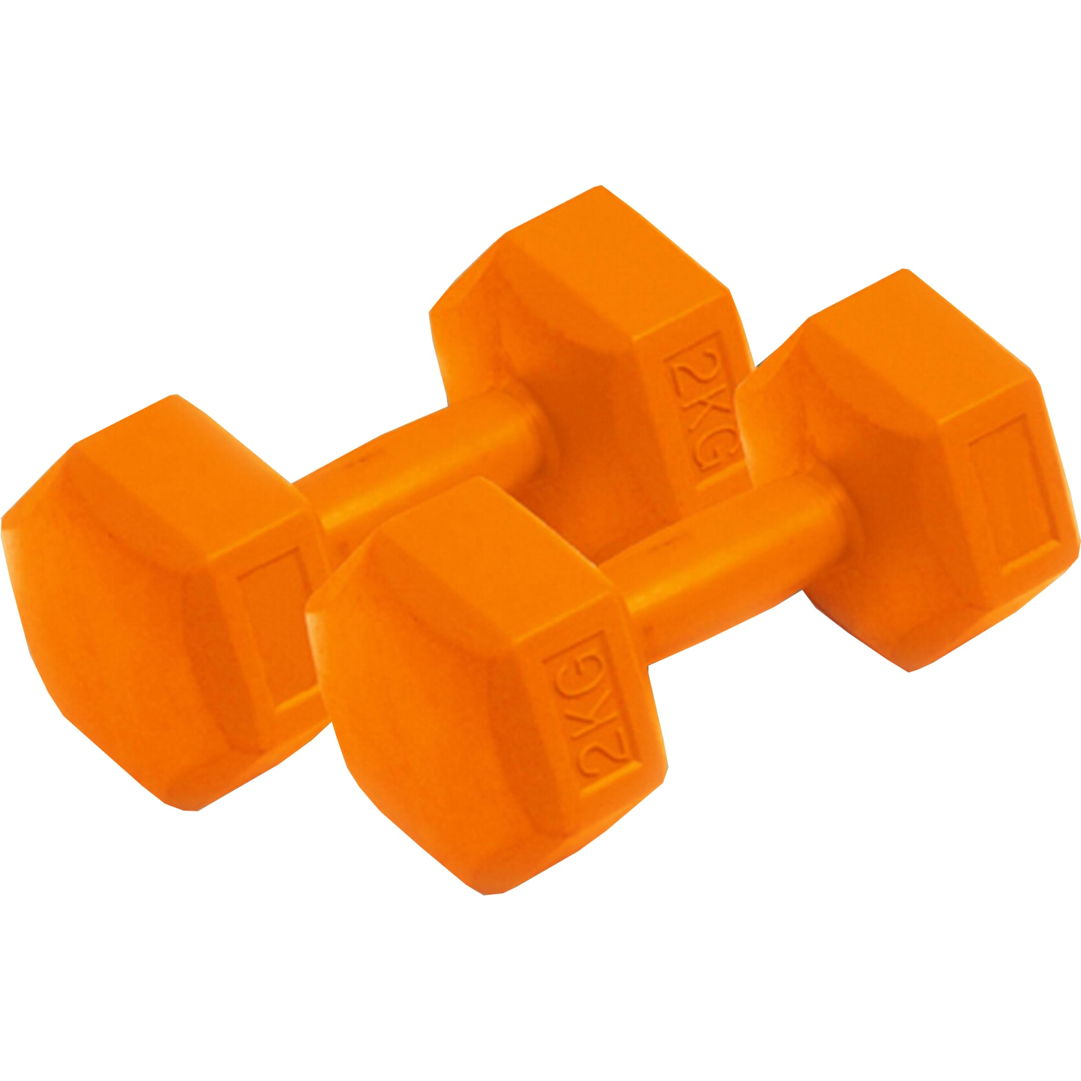 Fotografie Set de 2 gantere fitness Dynamic, coating plastic, 2 kg, culoare portocaliu