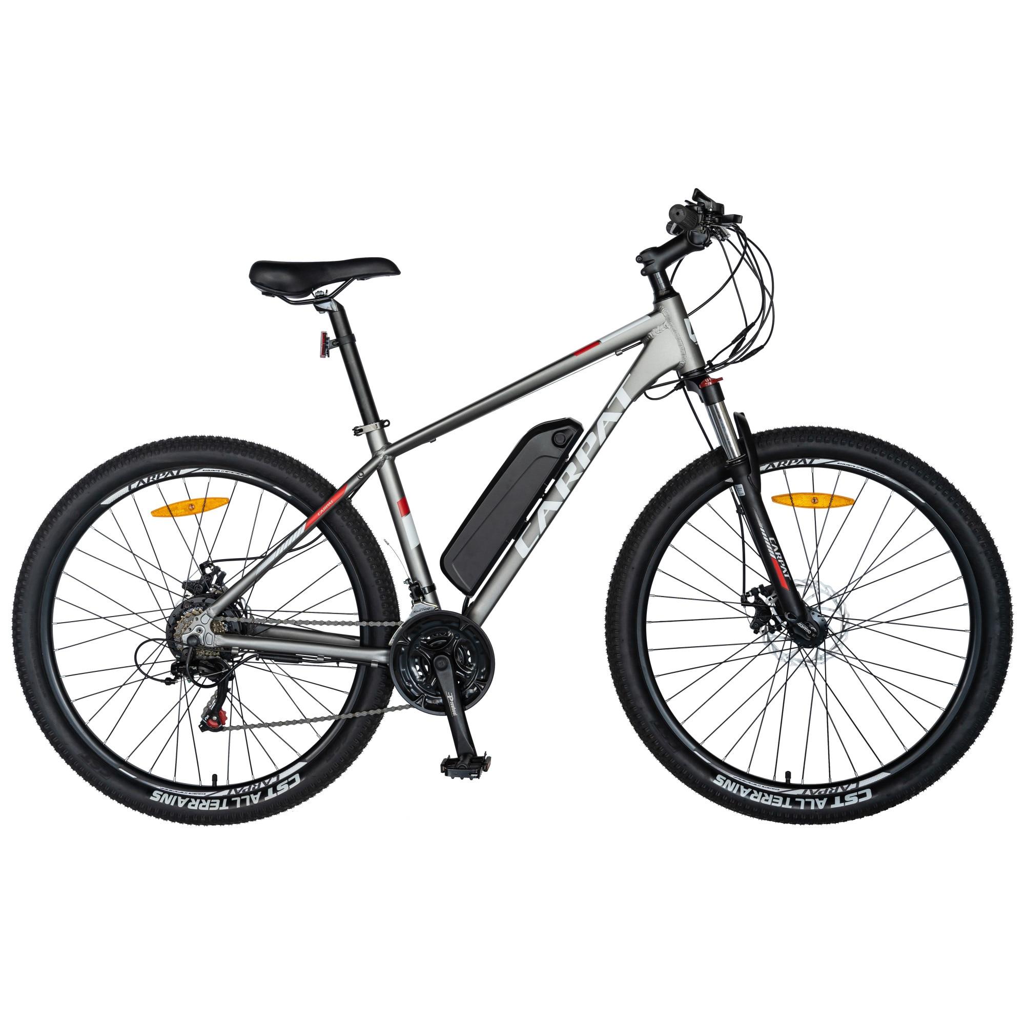 Fotografie Bicicleta Electrica MTB Carpat C1012E gri/alb, Roti 29 Inch , Motor 250W , Autonomie Max 60 Km