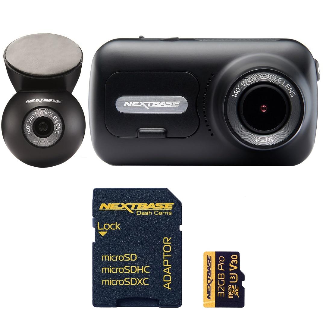 "Fotografie Pachet camera auto DVR Nextbase NBDVR322GW Full HD cu card 64GB, Display tactil IPS 2.5"". Wi-Fi. Bluetooth Aplicatie iOS, Android , GPS, 140° unghi de vizualizare. Mod Parcare Inteligent, Suport magnetic cu incarcare"