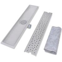 Отвод за душ, линеен, неръждаема стомана, сребрист, 63 х 14 см
