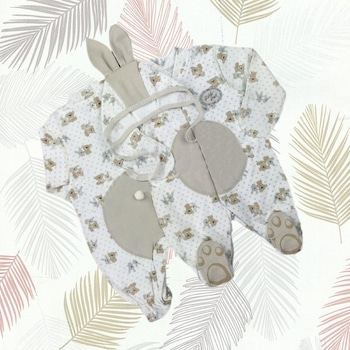 Детски гащеризон Little Star с шапка, Зайче, Крем/Бежов, Крем/Бежов