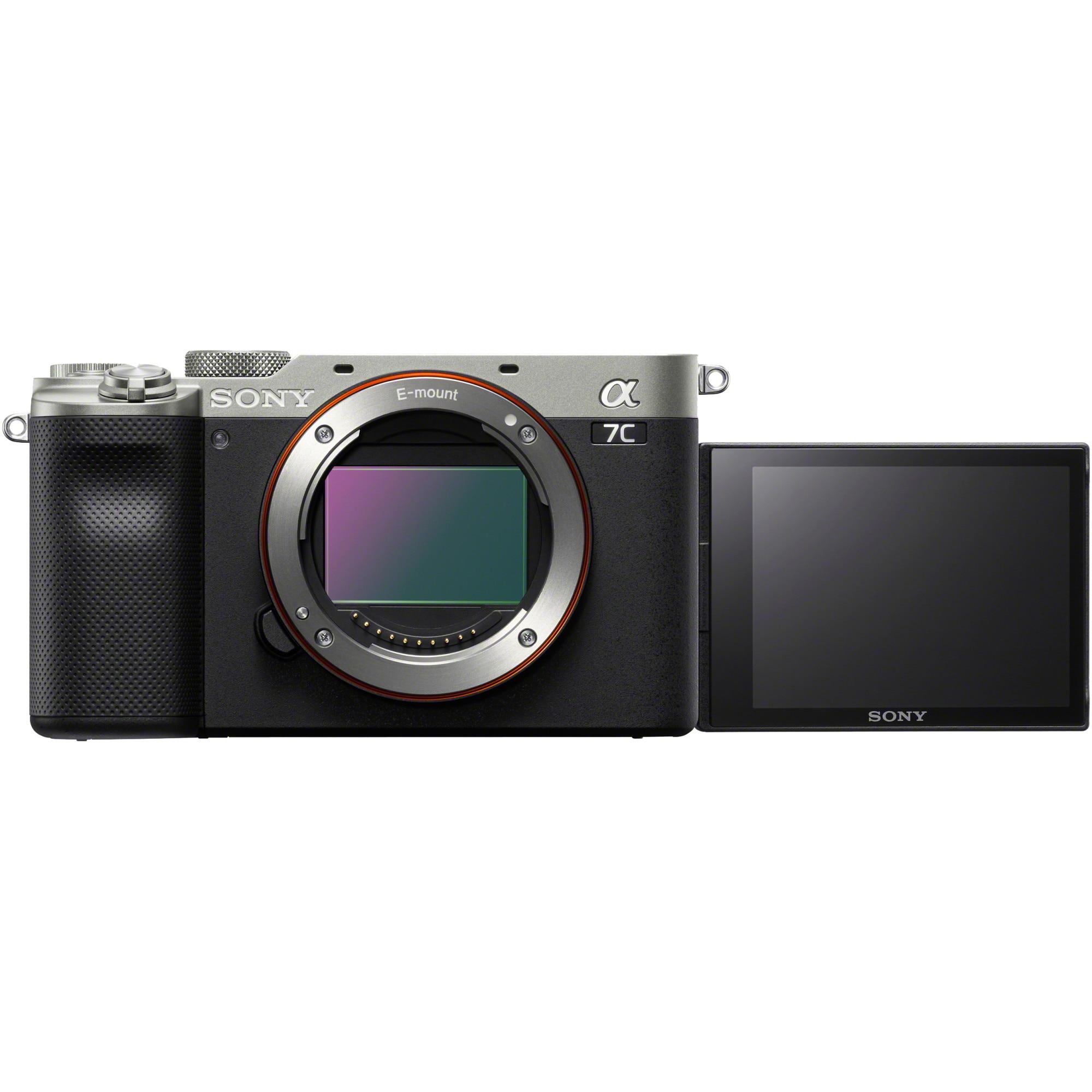 Fotografie Aparat foto mirrorless Sony Alpha A7C, 24.2MP, Full-Frame, 4K, Body, Argintiu