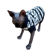 Pulover lana angora, negru/alb, caini/ pisici, marime M 30-33 CM