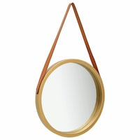 vidaXL aranyszínű fali tükör szíjjal 50 cm