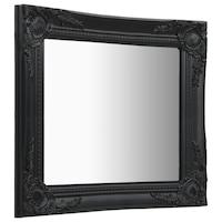vidaXL fekete barokk stílusú fali tükör 50 x 50 cm