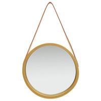 vidaXL aranyszínű fali tükör szíjjal 40 cm
