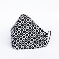 3 rétegű mosható textil maszk G3 szűrővel - Fekete karikás- M (női) méret