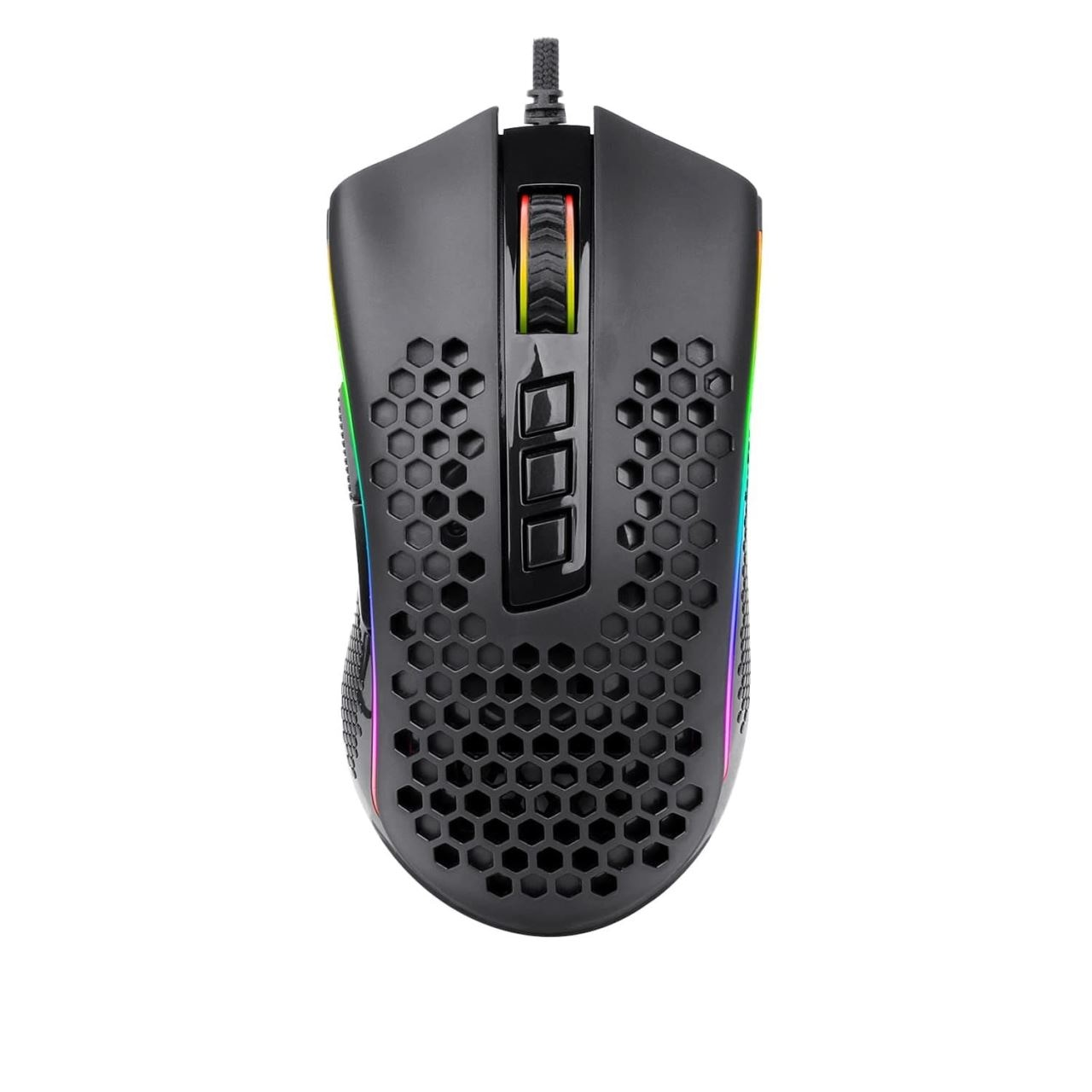 Fotografie Mouse gaming Redragon Storm, Ultrausor 85g, iluminare RGB, cablu flexibil, Negru