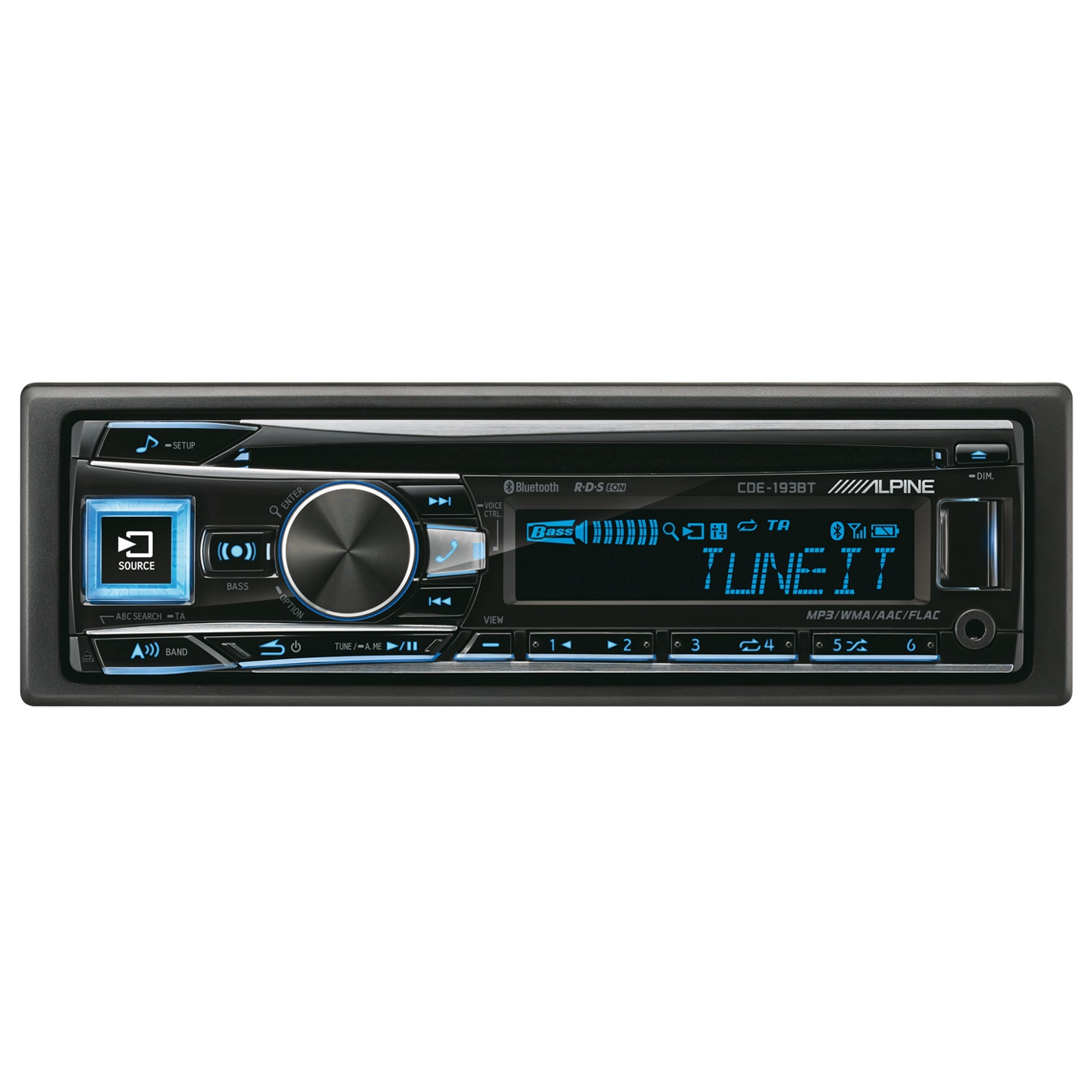 Fotografie Radio CD Alpine CDE-193BT, 4X50W RMS, Bluetooth, USB, AUX, iluminare taste variabila