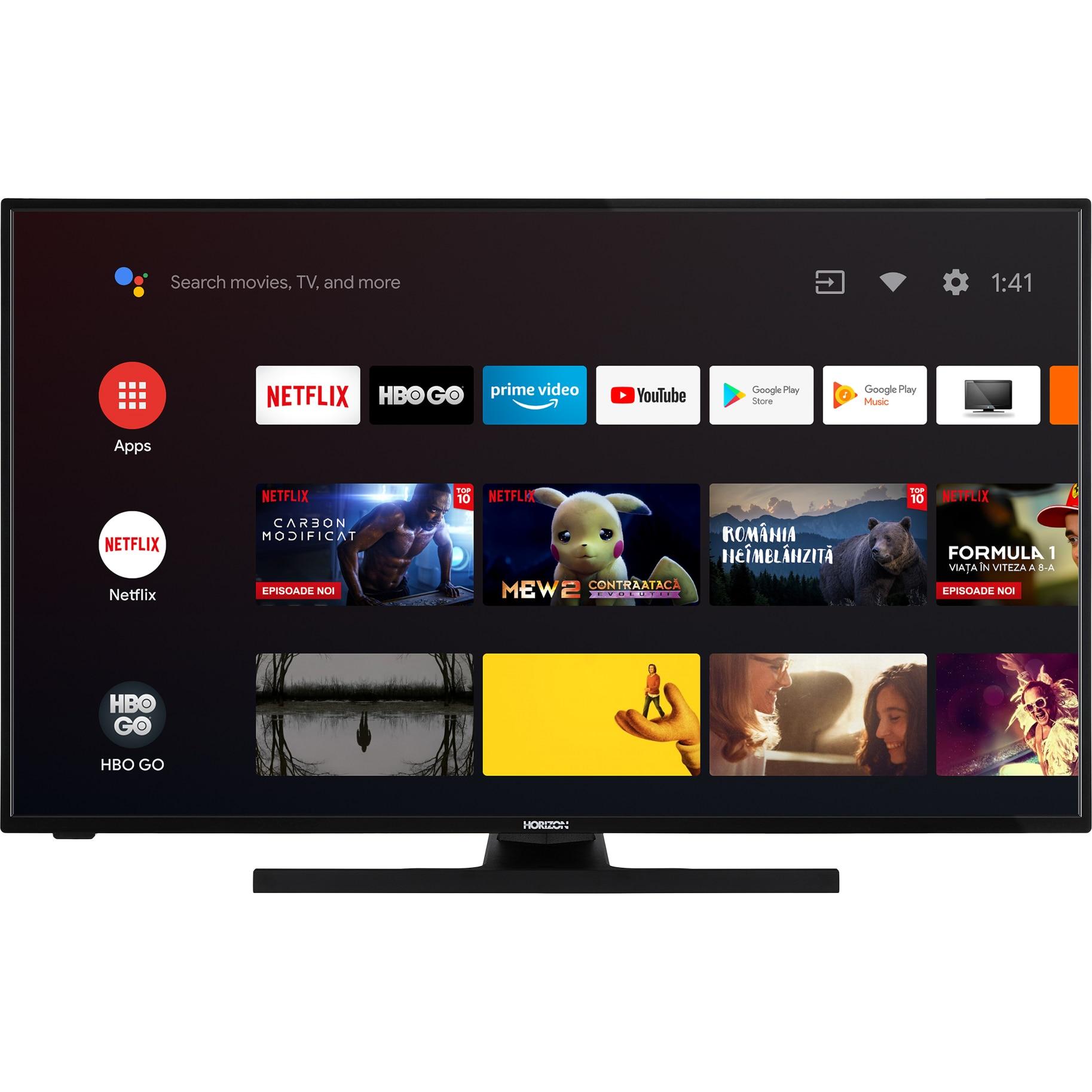 Fotografie Televizor HORIZON 43HL7390F/B, 108 cm, Smart Android, Full HD, LED, clasa A+, Clasa A+