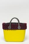 O bag, Шопинг чанта O-Bag с плетени зони, Жълт