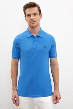 U.S. Polo Assn., Szűk fazonú piké galléros pamutpóló, Kék