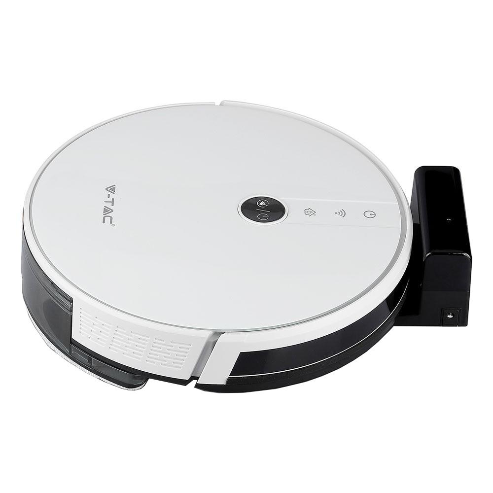 Fotografie Robot de aspirare V-TAC 8649, Consum 17.05 Kw, functie de aspirare si mop, 600ml, 14.4V, Li-ion, 2500 mAh, White