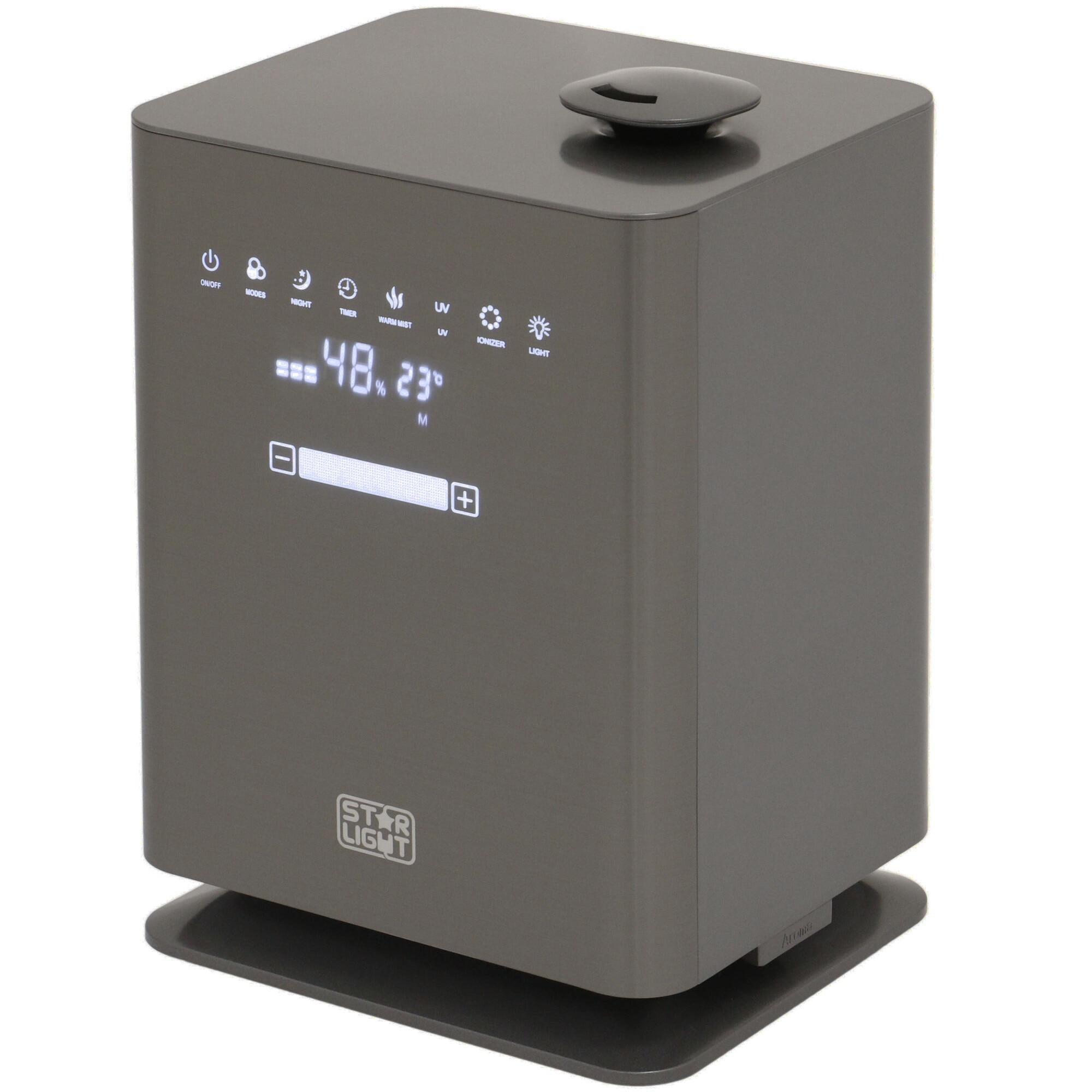 Fotografie Umidificator de aer Star-Light UHS-4511UG, rezervor 4.5L, Display LED, Functie Plasma, Lampa UV, Abur cald/rece, Control touch, Timer, Telecomanda, Gri