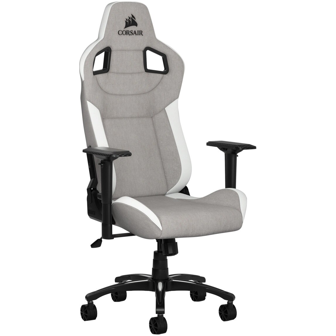Fotografie Scaun Gaming Corsair T3 Rush, Textil, Gray/White