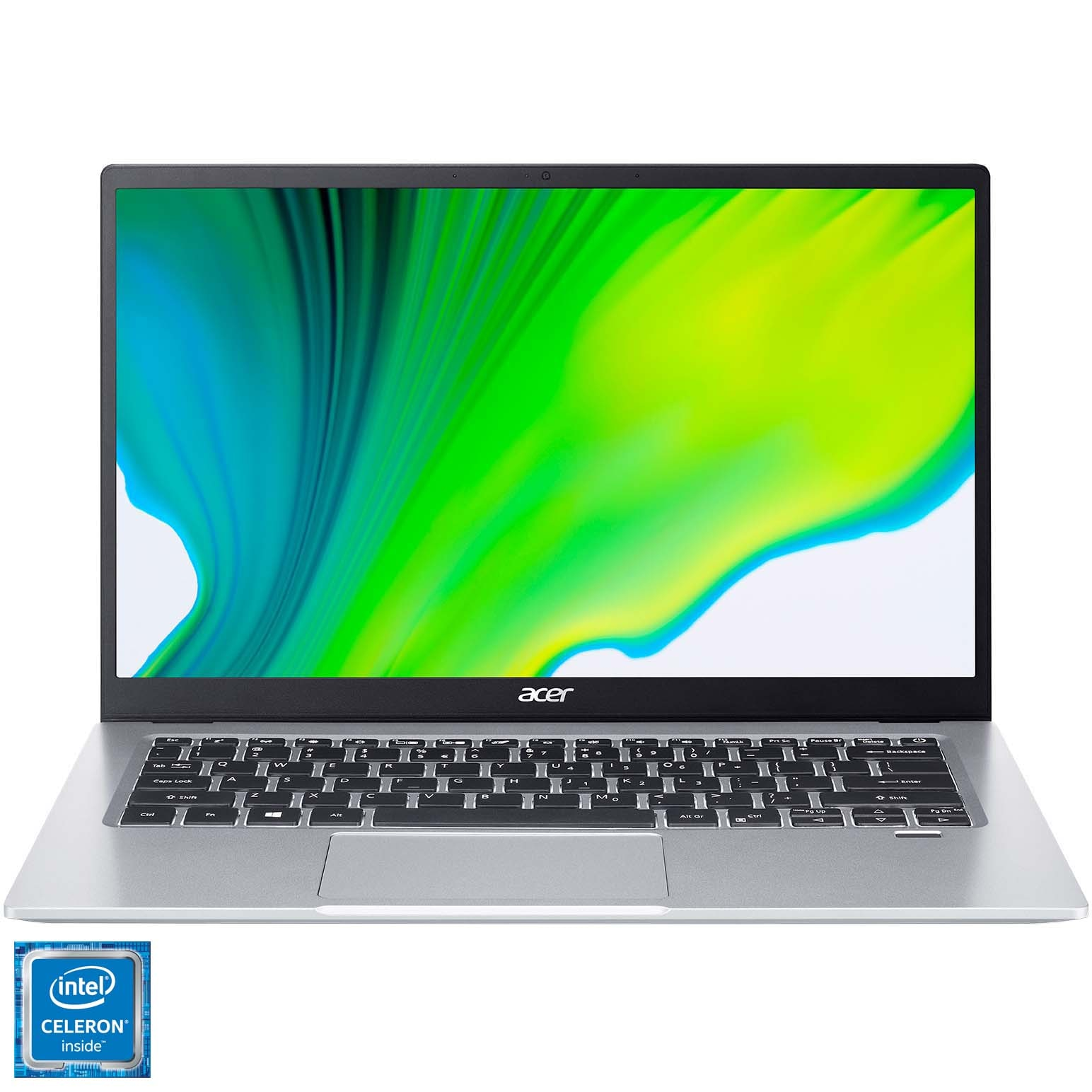 "Fotografie Laptop ultraportabil Acer Swift 1 SF114-33 cu procesor Intel® Celeron® N4120 pana la 2.60 GHz, 14"", Full HD, 4GB, 128GB SSD, Inel UHD Graphics, No OS, SIlver"