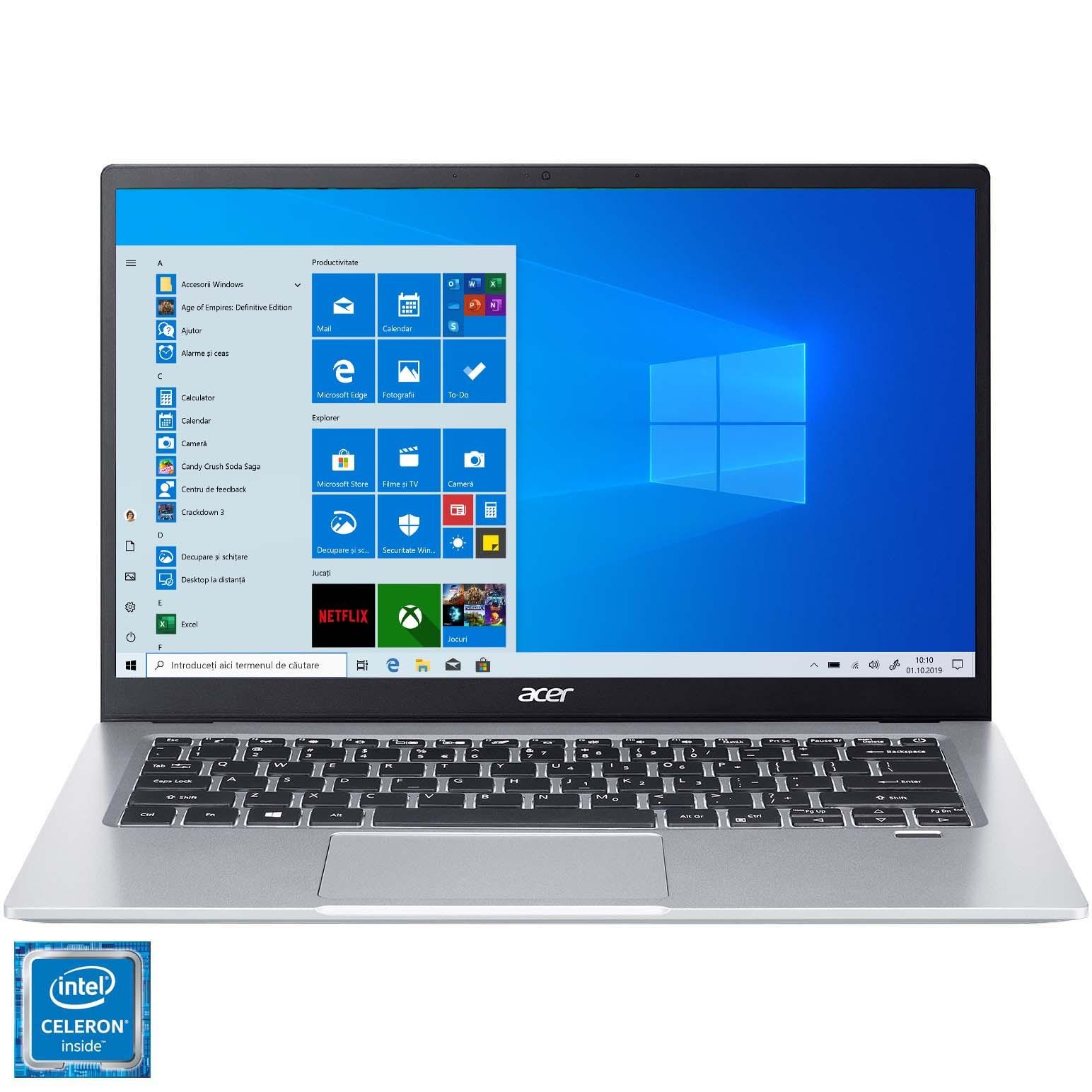 "Fotografie Laptop ultraportabil Acer Swift 1 SF114-33 cu procesor Intel® Celeron® N4120 pana la 2.60 GHz Quad Core, 14"", Full HD, 8GB, 256GB SSD, Inel UHD Graphics, Windows 10 Home, SIlver"
