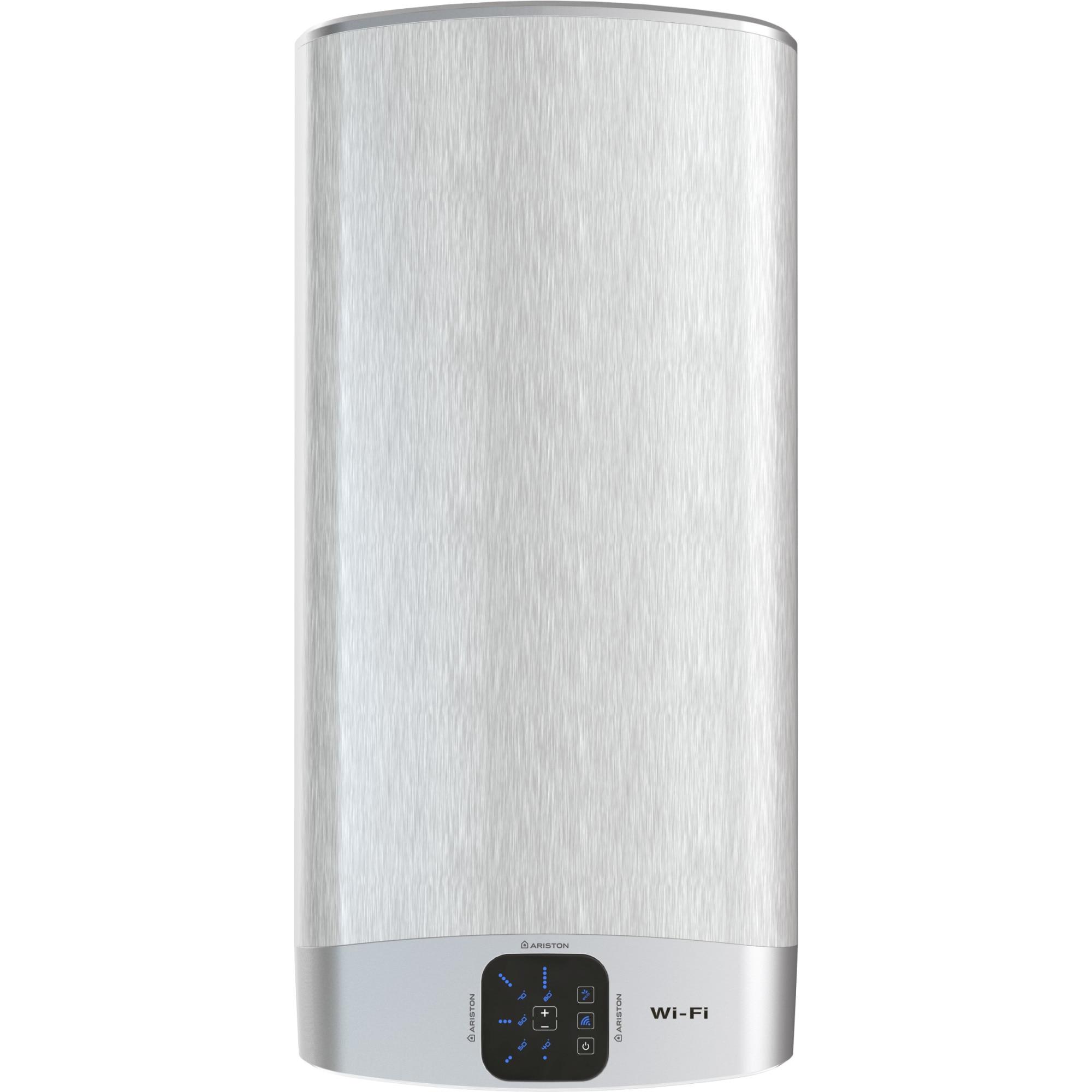 Fotografie Boiler electric Ariston VELIS WIFI 100, 2 x 1500 W, 100 litri, Afisaj soft touch cu reglarea temperaturii, Functia ECO EVO, Doua rezervoare emailate cu titan