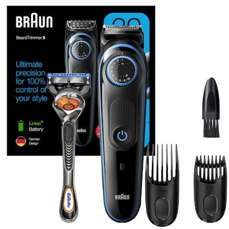 Aparat pentru tuns si ingrijirea barbii Braun Beard Trimmer BT5240 Wet&Dry, AutoSense, buton rotativ de precizie, 2 piepteni, Aparat de ras Gillette, Negru/Albastru