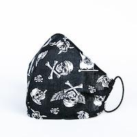 3 rétegű mosható textil maszk G3 szűrővel - Fekete kalózos - M (női) méret