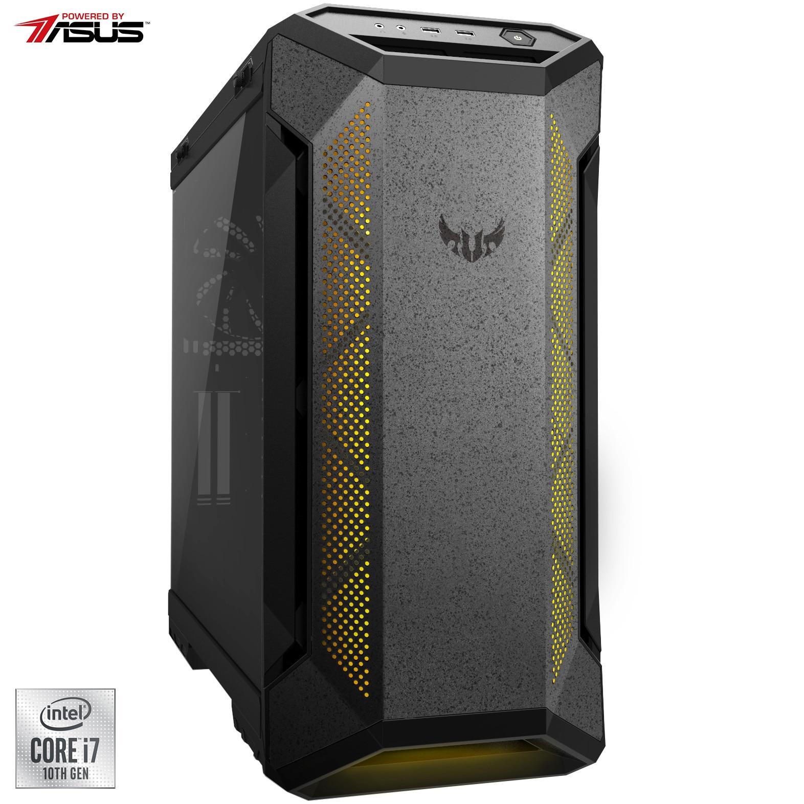 Fotografie Sistem Desktop PC Gaming Serioux Powered by ASUS cu procesor Intel® Core™ i7-10700K pana la 5.10GHz, 32GB DDR4, 1TB SSD M.2 PCIe + 2TB HDD, GeForce® GTX 2080 Ti 11GB GDDR6