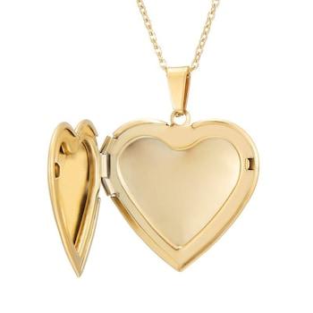Gravírozható nemesacél szív alakú képtartó függő medál nyaklánccal, arany színű