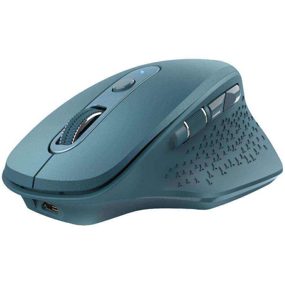 Fotografie Mouse wireless Trust Ozaa, ergonomic, dual scroll, reincarcabil, Albastru
