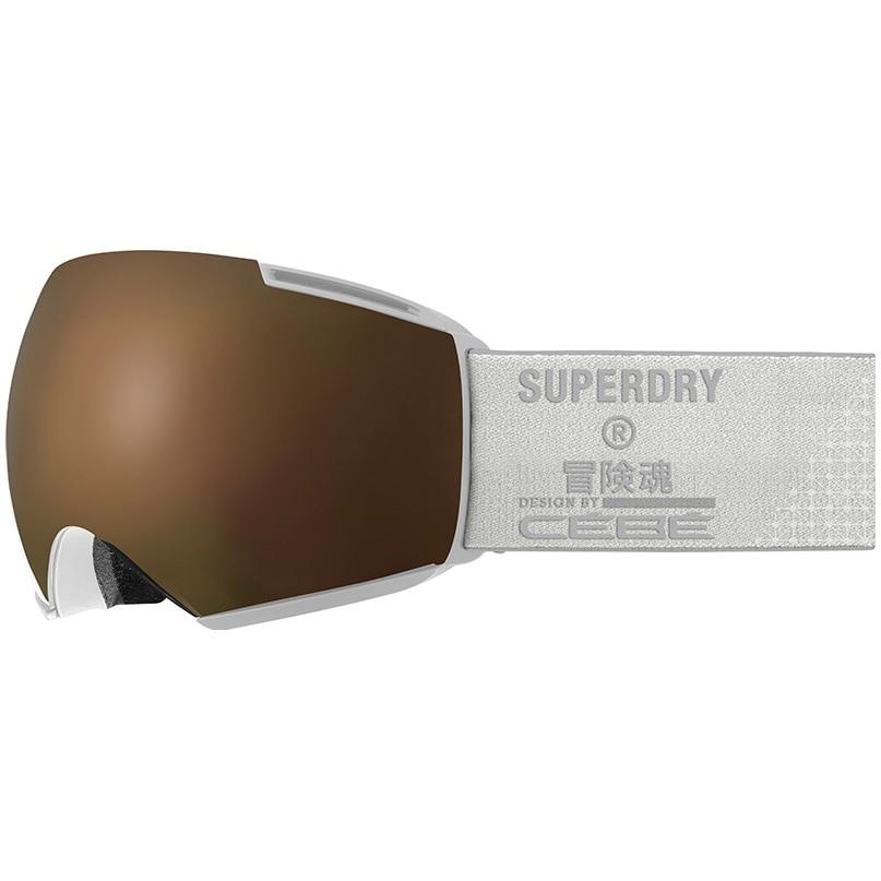 Fotografie Ochelari schi Superdry Icone, lentila S3 Matt White Dark Rose Flash Gold + lentila S1 Amber Flash Mirror