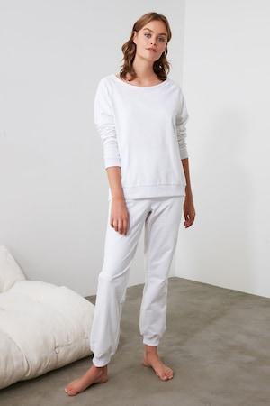 Trendyol, Pizsama kivágással a hátoldalán, Fehér, S