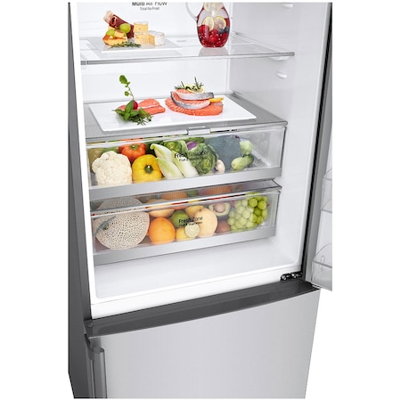 Хладилник с фризер LG GBF567PZCZB, 440 л, Клас A++, No Frost, Линеен компресор, Диспенсър за вода, H 185 см, Сребрист