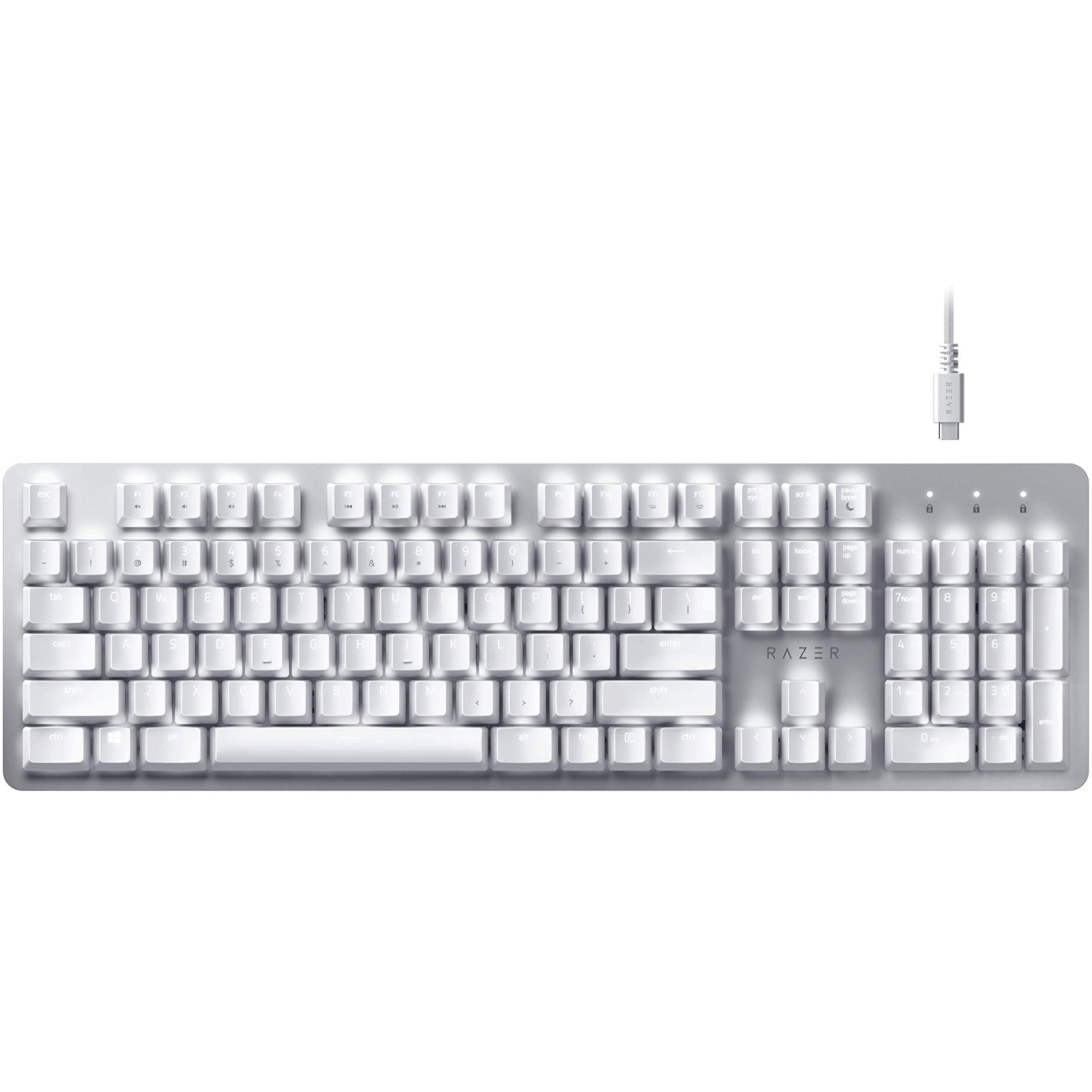 Fotografie Tastatura mecanica wireless Razer Pro Type, iluminare alb, multidevice, 2.4GHz&Bluetooth, USB-C, switch Razer Orange, US Layout